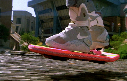 The Back To The Future hoverboard in use