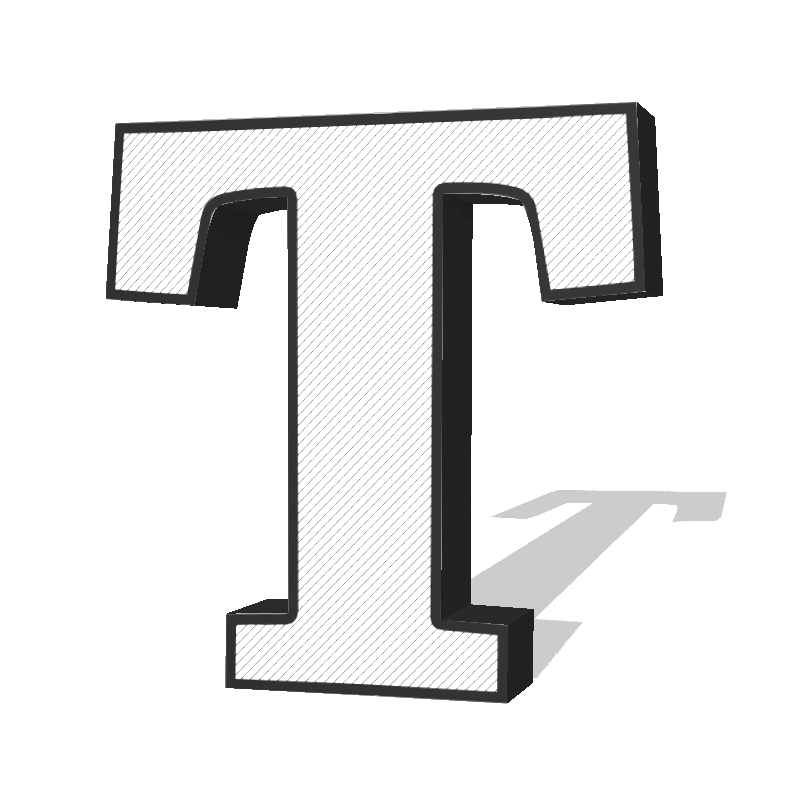 An example of an extruded serif font.
