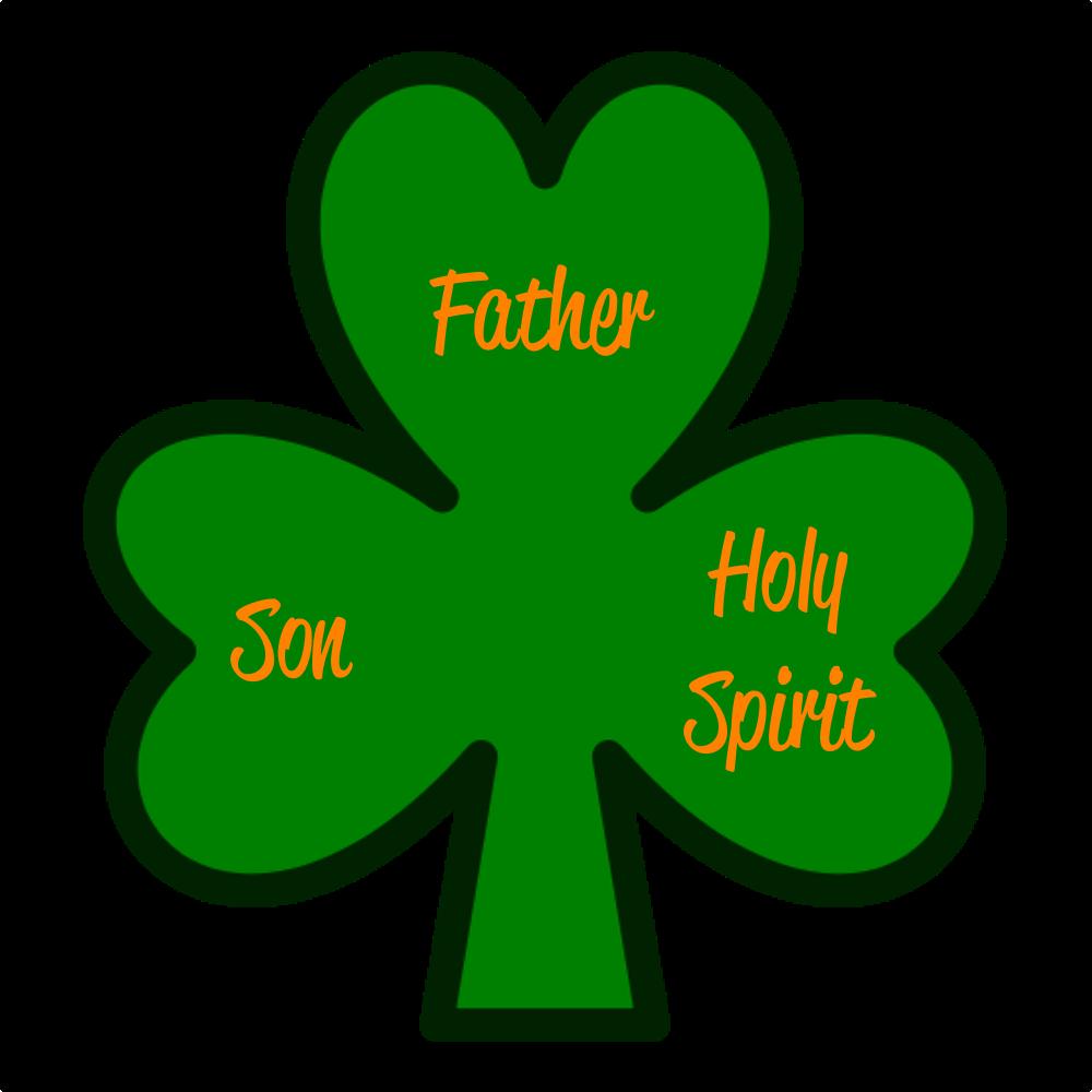 Holy trinity on a shamrock leaf.