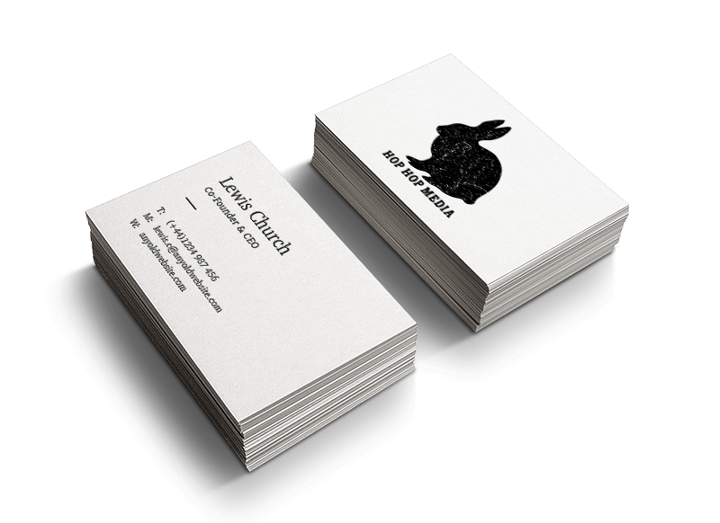 A business card printed on high quality paper card.