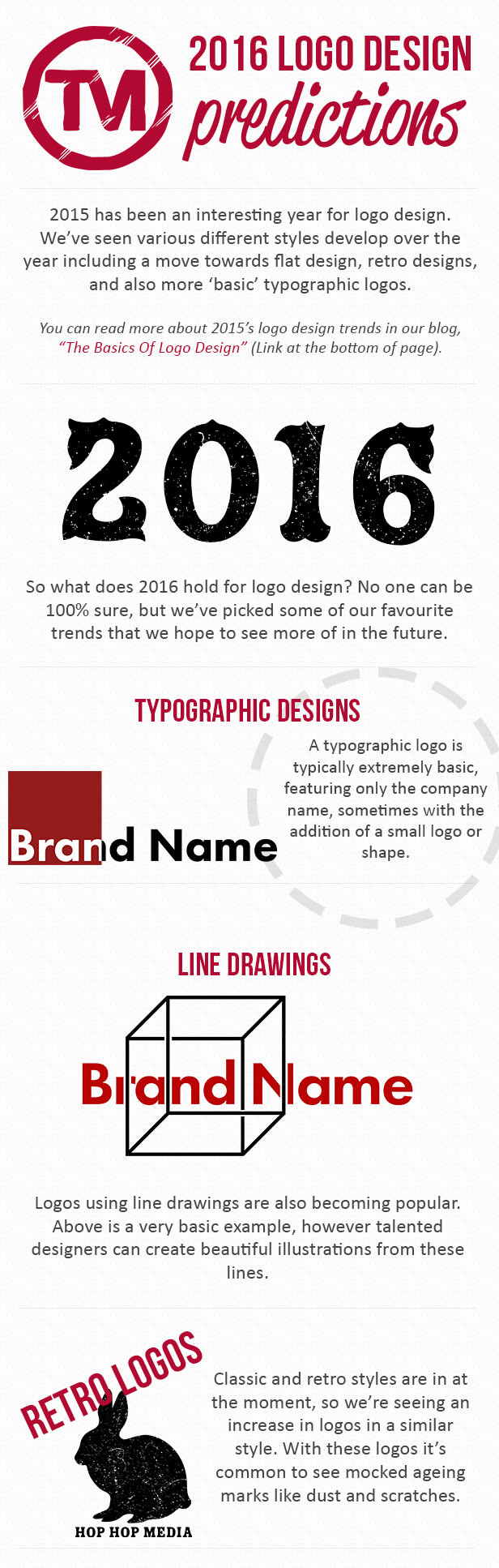 An infographic by Total Merchandise about the top logo design trends of 2016.