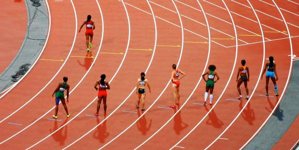 olympian sprinters practice