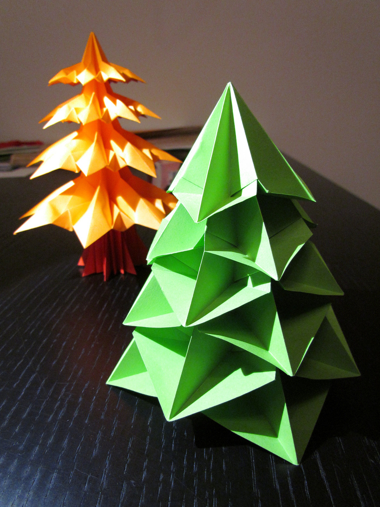 christmas trees made from paper.