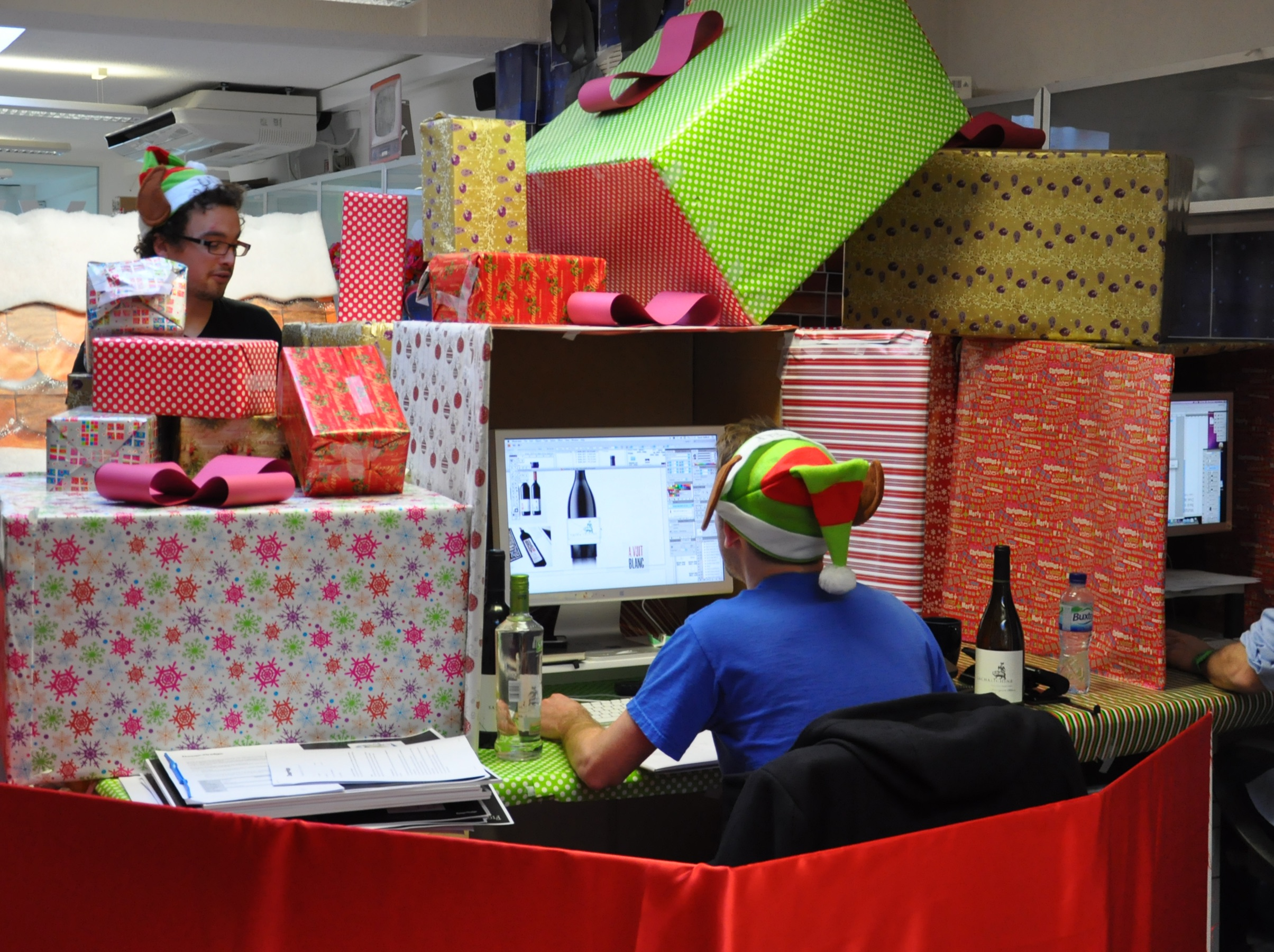 Decking the office out with giant presents.