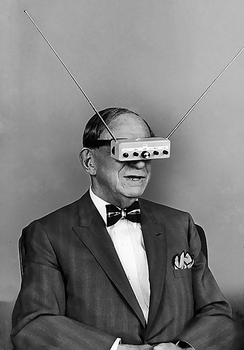 A man wearing television glasses, 1963.