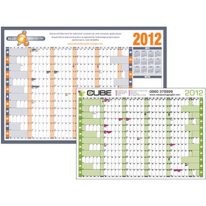 Promotional A1 Wall Planners gloss laminated and printed all over 1 side with your bespoke corporate calendar design. These personalised wall calendars offer an enormous print area that will be displayed every day in a highly visible place in your office, workplace or home, maximising the exposure of your logo or brand and the space that you have to write your information in on each day. A great giveaway that will stay in use all year round, all day and every day. Ideal for all businesses and campaigns.