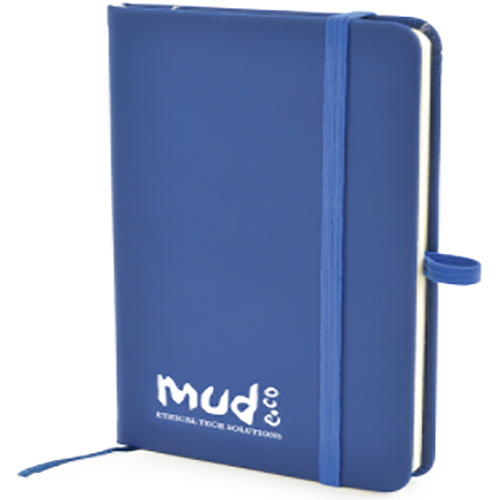 Promotional A6 Soft Touch PU Notebooks with company logo