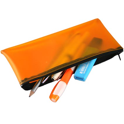 Printed Frosted PVC Pencil Case, made from soft feel high quality frosted PVC to form a lightweight yet durable holder for your stationery. These are available in 6 colours and a choice of zip colours. A great useful item for schools and education establishments with a useful branding area that is certain to flaunt your company/campaign message wherever it is used.