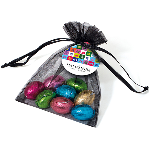 Organza bags with foil chocolate eggs personalised chocolate organza bags with foil chocolate eggs extra images negle Choice Image