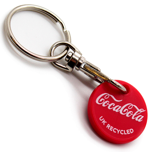 recycled plastic trolley coin keyrings promotional key rings