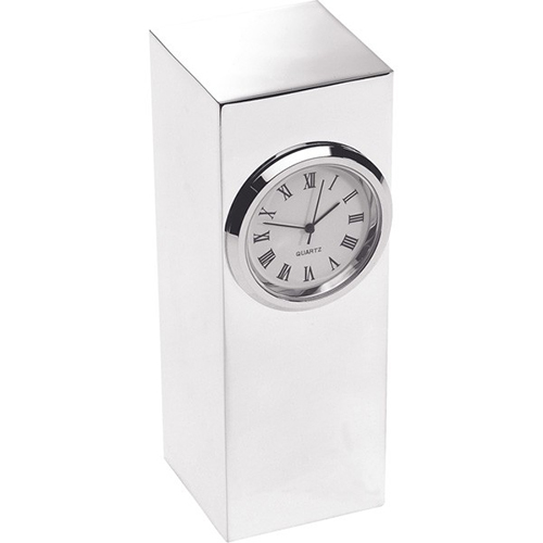 Silver Plated Column Clocks