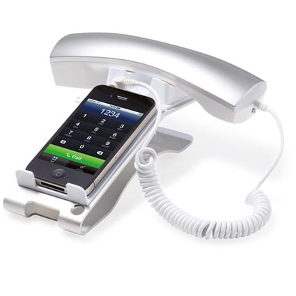 Promotional Smartphone Retro Phonestands, an easy to use mobile phone cradle and receiver suitable for use with most mobile phone models with 3.5mm heaphone jack outputs. This personalised smartphone accessory connects via this socket to allow you to take/make calls whilst still allowing you to see your screen and use of your phone's touch screen features (if applicable). This multitasking printed phone stand also offers 96% radiation reduction and is perfect for long phone calls as the phone is not overheating next to your ear. A slightly different, eye-catching benefit to your promotional campaign as well as your health, each and every time you answer the phone. Perfect for the health conscious or any client that uses their mobile frequently.