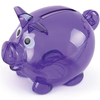 Mini translucent piggy banks printed money banks fast for Mini piggy banks