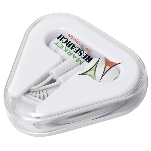 Promotional Triangle Case Earbuds for giveaway ideas