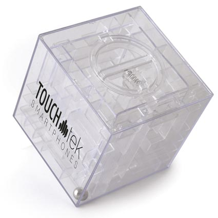 Promotional Maze Money Box is  a fun promotional product for any campaign. This Printed Maze Money Box cannot be opened until you've got the ball to the door of the cube!
