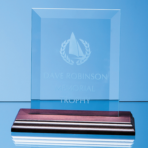 Glass Plaque on Wood Base
