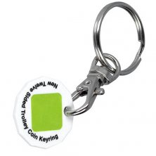 Promotional Printed Recycled Plastic Trolley Coin Keyrings made from recycled plastic