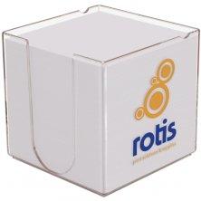 Custom branded note holder blocks for desk top merchandise