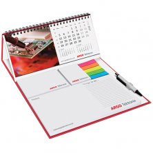 Promotional Wiro Calendar and Sticky Note Set Deluxe printed with logos
