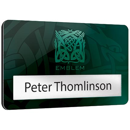 Printed metal window staff name badges for offices