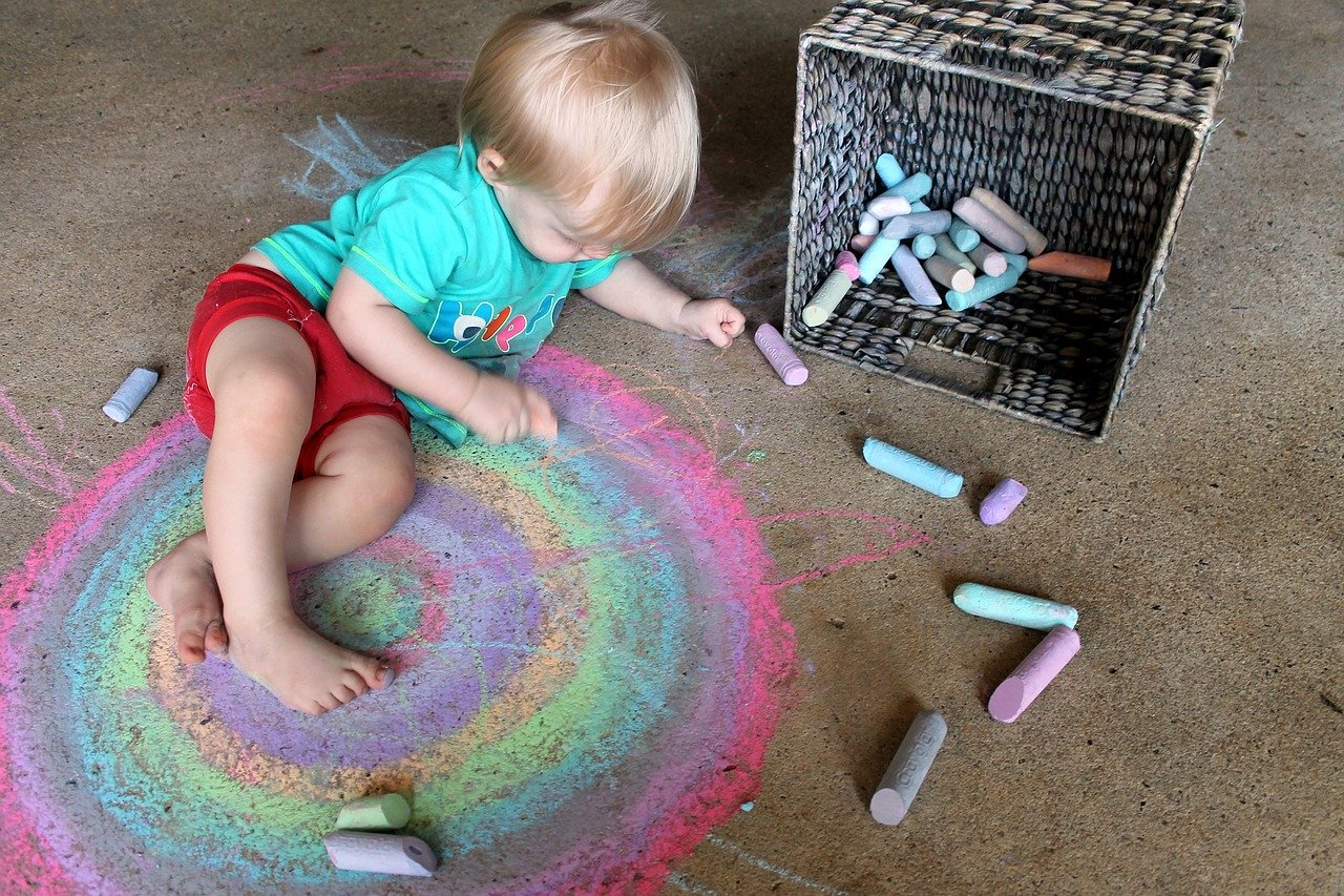 A child drawing on the floor