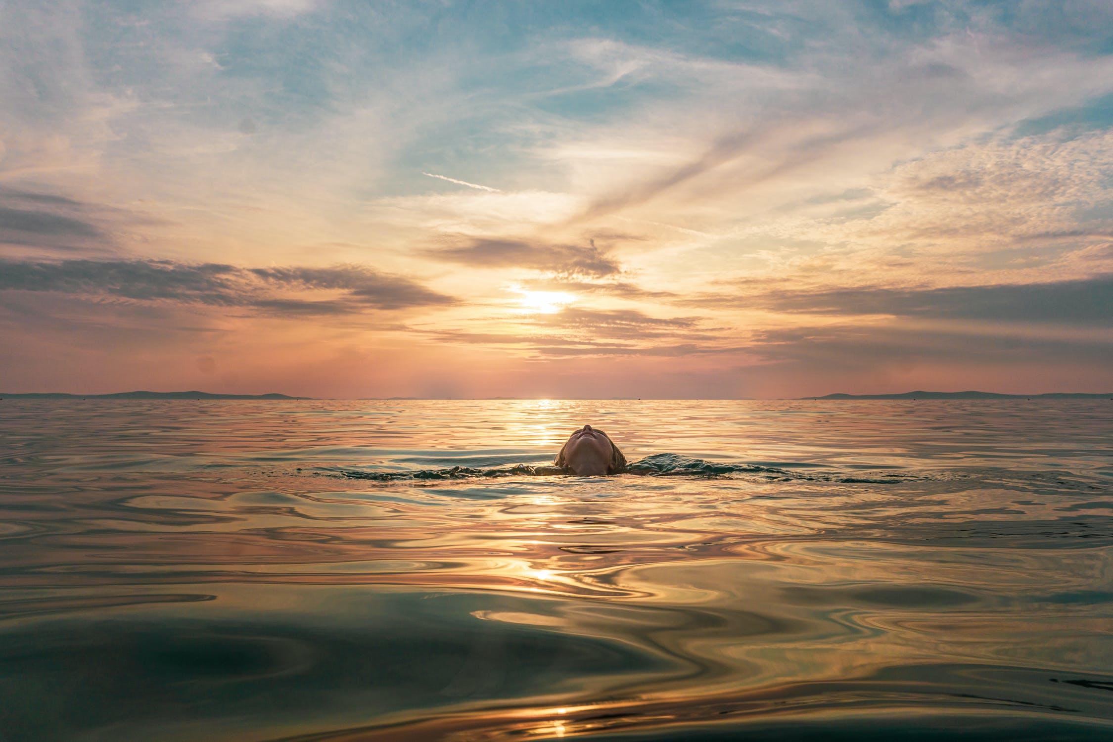 A sunset above a calm ocean