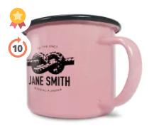 10oz Premium Enamel Mugs in Pink