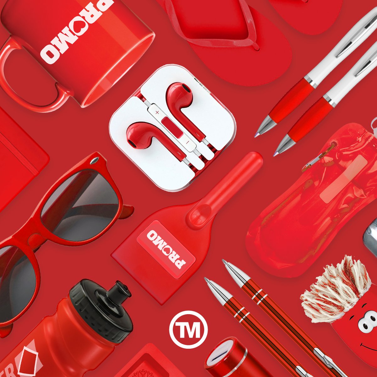 Red product flat lay