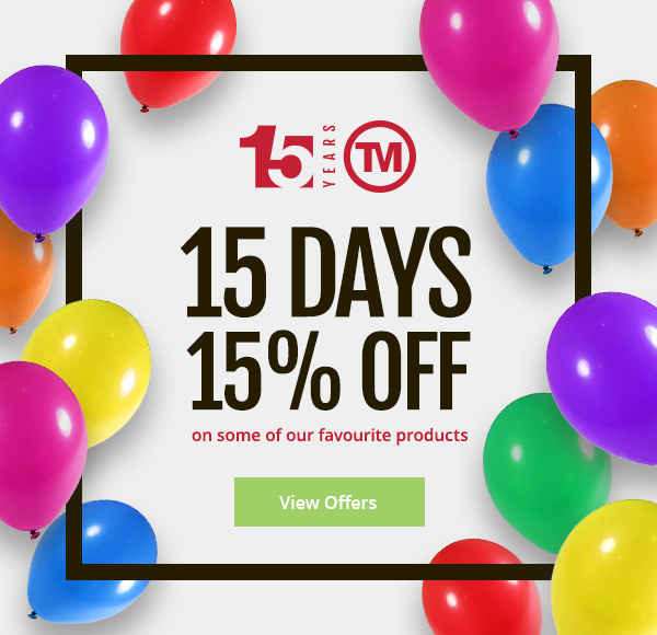 15% anniversary discount