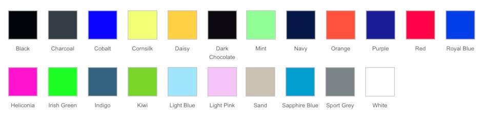 Colour palette for Total Merchandise t-shirt design competition