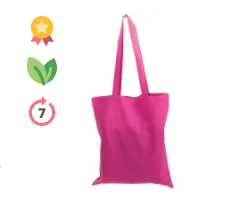 Coloured Cotton Tote Bag in Pink