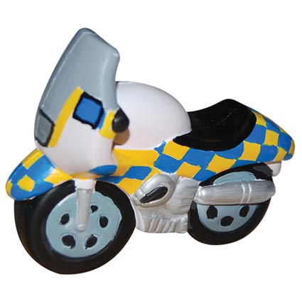Promotional Stress Police Motorbike made from PU rubber foam that you can squeeze to relieve stress and this stress ball shape will promote your message. Stress balls are a great fun give away promotional item. These Stress Toys have an iconic British design that will connect your campaigns or promotions with England. Available for printing in up to 4 Spot Colours or Full Colour Print - please enquire for prices on additional colours.