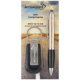 Contour Metal Stylus Pen and Keyring Sets
