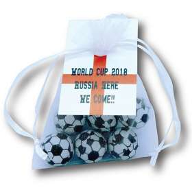 Foiled Chocolate Football Organza Bags