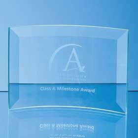 Medium Jade Glass Bevelled Crescent Awards