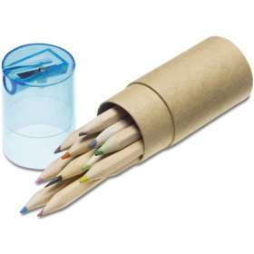 12 Coloured Pencils And Sharpener Tube