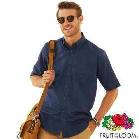 Fruit of the Loom Mens Short Sleeve Oxford Shirts