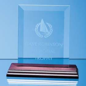 Product Image of Glass Plaque on Wood Base